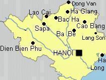Carte du Nord vietnam