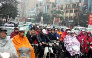 La pluie en ville hanoi