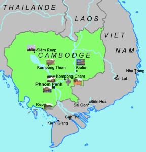 Carte du pays cambodge