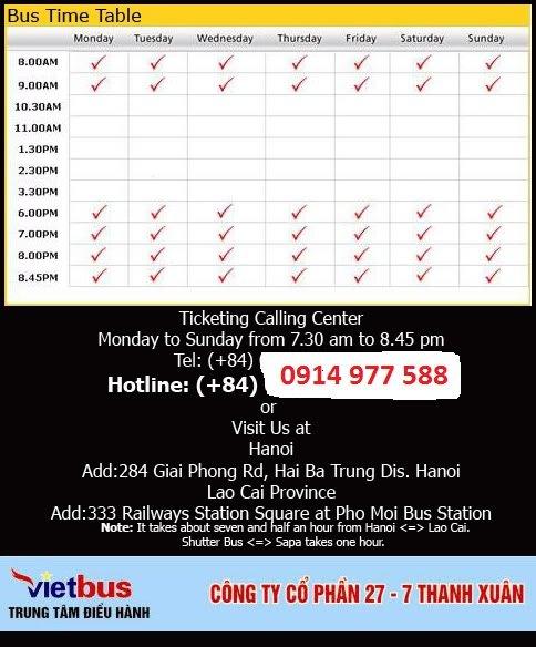 Horaire de Bus Hanoi - Sapa Lao Cai